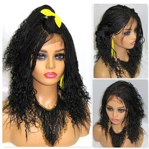 braided lace  front wig, 100% hand made, black wig